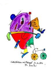 """""""Selbstbildnis mit Fahrrad"""" / WVZ 1.066 / datiert 26.10.96 / Aquarell und Filzstift auf Wasserzeichenpapier / b 21,0 cm * 29,7 cm"""