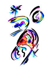 """""""Teenagers dream"""" I vom 13.10.1995, Werkverzeichnis 579, Aquarell, Kohle und Tusche auf Papier, Größe b 34,0 cm * h 46,0 cm."""