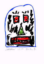 """""""Selbstbildnis"""" Malerei / Zeichnung. Tusche und Aquarellfarben auf Papier. Sayalonga, 02.05.2014 B 21,0 cm * H 29,7 cm. Werkverzeichnis 4176."""