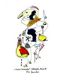 """""""Hinter Horizonten"""" Farbige Tusche- und Farbstiftzeichnung. Originalgrafik auf Papier. B 17,0 cm * H 24,0 cm. Lübbecke, 19.11.2015. Werkverzeichnis 4203."""