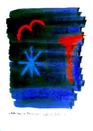 """""""Roter Vogel über blauem Stern"""" WVZ 3.750 / dat. 2005 / Serie v. 13 Arbeiten / hier 1/13 Kreide und Aquarell auf Papier / b 30,0 cm * h 42,0 cm"""