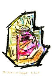 """""""Rund um die Herzgegend"""" / Werkverzeichnis 1.222 / datiert 1997 / verschiedenfarbige Kohlen auf Papier / Maße jeweils b 24,0 cm * h 32,0 cm"""