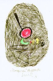"""""""Umgarnen""""/  Werkverzeichnis 1.302 / datiert 09.03.97 / Kreide, Filzstift und z. T. Kugelschreiber auf Papier / Maße b 12,0 cm * h 18,0 cm"""
