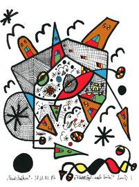 """""""Landschaftern"""" - """"Flieht Vögel nach links"""" - Gestringen, den 28.11.93 Werkverzeichnis 369 Textilfarbe auf Aquarellpapier b 24,0 cm * h 32,0 cm"""