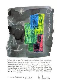 """Sayalonga - Vehlage"" / Sayalonga - Andalucia, 04. Januar 2009 / Sprechbild mit Text als Originalgrafik mit Ölkreide, Aquarell und Bleistifttext auf 200-g-Papier / Größe b 35,0 cm * h 50,0 cm / Werkverzeichnis 3.834"
