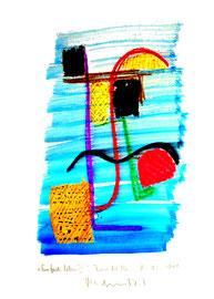 """""""Einfach leben III"""" / WVZ 3.689 c / datiert Torre del Mar, 15.02.04 / Aquarell, Tusche und Kreide auf Papier / Maße b 21,0 cm * h 29,7 cm"""
