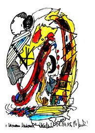 """Heide I"""", Werkverzeichnis 517, vom 08.04.95, Filzstifte, Aquarellfarben und Textilfilzstifte auf Papier, Größe b 10,6 cm * h 16 cm"""