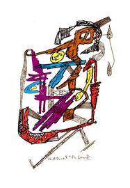 """""""o. T."""", WVZ 1.011 / datiert Lübben, 16.07.1996 / Filzstift und diverse Farben auf Papier / Größ b 18,0 cm * 24,0 cm"""
