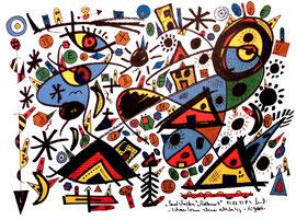 """Landschaftern"" - Mallorca 4 - Mallorca, den 01.08.1993, Werkverzeichnis 361 Textilfarbe auf Aquarellpapier b 40,0 cm * h 30,0 cm"