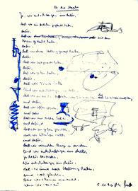 """""""An die Macht"""", Werkverzeichnis 1.083, datiert 05.11.1996, Filzstift und Text auf Papier, Maße 30,0 cm * 40,0 cm"""