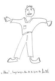 """""""Mann"""" Bleistiftzeichnung auf Papier b 24,0 cm * h 32,0 cm Sayalonga, den 11.10.2014 Werkverzeichnis 4198"""