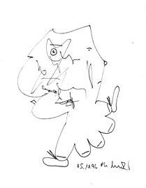 """Einbandtext: """"Noch einmal November. Wie sind die Menschen, die Gesichter des November?"""" Zeichnung """"o. T."""" WVZ 1.082 / datiert 5.11.96 / Filzstiftzeichnung auf Papier / Größe b 18,0 cm * 24,0 cm"""