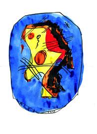 """""""Ich im All"""" / WVZ 1.329 / datiert 05.04.97 / schwarze und farbige Tusche auf Papier / Maße b 21,0 cm * h 29,7 cm"""