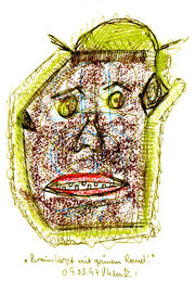 """""""Braunkopf mit grünem Rand"""" / Werkverzeichnis 1.303 / datiert 09.03.97 / Kreide, Filzstift und z. T. Kugelschreiber auf Papier / Maße b 12,0 cm * h 18,0 cm"""
