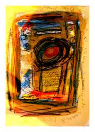"""""""Wieviele Verletzungen kann ich ohne Kalaschnikow ertragen"""" / Say., 15.12.10 / Originalgrafik, -malerei als Sprechbild mit Aquarell, Kreide, Bleistift, Blut und Text auf Papier / Größe: b 35,0 cm * h 50,0 cm / Werkverzeichnis 3.865"""