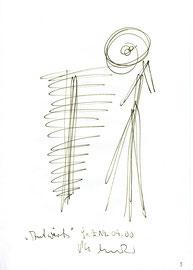 """""""Aufwärts"""" / WVZ 3.174 / datiert 19.09.2000 / Filzstift auf Papier / Maße b 21,0 cm * h 29,7 cm"""