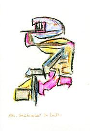 """""""Herzsüden der Seele"""" / Werkverzeichnis 1.221 / datiert 1997 / verschiedenfarbige Kohlen auf Papier / Maße jeweils b 24,0 cm * h 32,0 cm"""