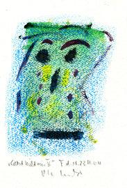 """Selbstbildnis V"" / WVZ 3.745 / datiert T. d. M., 23.11.04 / Aquarell und Kreide auf Papier / Maße b 23,0 cm * h 31,0 cm"