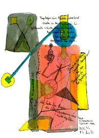 """""""Multikulturelle Begegnungen"""", Werkverzeichnis 963 / datiert Südtirol - Males 30.03.1996 / Text mit farbiger Zeichnung auf Papier / Größe b 21,0 cm * 29,7 cm"""