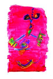 """""""Aus dem Rot gesprungen"""" / Serie v. 13 Arbeiten / hier 9/13 WVZ 3.758 / datiert 2005 / Tinte, Kreide, Bleistift, Aquarell auf Papier / b 30,0 cm * h 42,0 cm"""