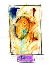 """""""Orange"""" / WVZ 3.693 / datiert T. d. M., 15.02.2004 / Tinte, Tusche und Kreide auf Papier / Maße b 21,0 cm * h 29,7 cm"""