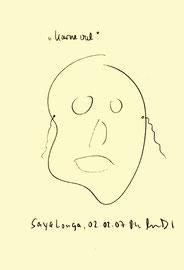 """""""Leichte Depressionen am 02.08.2007 ab 16.00 Uhr (Julia F. und ich)"""" / Sayalonga, 02.08.2007 / Kugelschreiberzeichnung auf Papier / b 14,7 cm * h 21,0 cm / Werkverzeichnis 3786"""