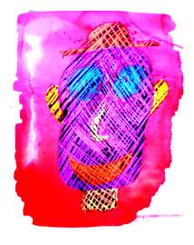 """""""Selbstbildnis"""" / 15.12.10 / Originalgrafik, -malerei mit Aquarell und Ölkreide auf Papier / Größe: b 35,0 cm * h 50,0 cm / Werkverzeichnis 3.861"""