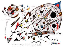 """""""Landschaftern"""" - Mit grünen Tränen - 17.09.1994, Werkverzeichnis 424, Textilfarbe auf Aquarellpapier, b 40,0 cm * h 30,0 cm"""