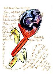 """""""Muttis Geburtstag II"""", Werkverzeichnis 940, datiert 04.02.1996, diverse Stifte, Farben und Text auf Papier, Maße 24,0 cm * 32,0 cm"""