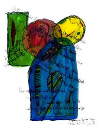 """""""Tagesbeginn eines Buches"""", Werkverzeichnis 965 / datiert Südtirol - Males 30.03.1996 / Text mit farbiger Zeichnung auf Papier / Größe b 21,0 cm * 29,7 cm"""