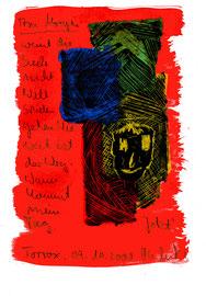 """""""Am Morgen"""" / Torrox, 09.10.2008 / """"Sprechbild"""" mit Text als Original Grafik mit Ölkreide, Tusche und Text auf Papier / B 14,7 cm * H 21,0 cm / Werkverzeichnis 3.798"""
