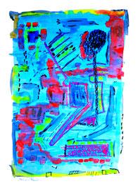 """""""o. T."""" / Werkverzeichnis 1.233 / 1997 / teils-teils: Ölkreide, Kreide, Kohle, Bleistift, Zeitungsabdruck und Aquarell auf Papier / Maße jeweils b 36,0 cm * h 48,0 cm"""