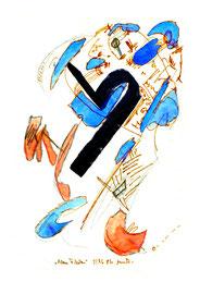 """""""Blaue Flecken"""" / WVZ 938 / datiert 2/96 / Aquarell, Bleistift und Filzstift auf Papier / Größe b 24,0 cm * 32,0 cm"""