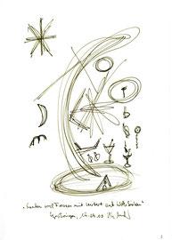 """""""Saufen und fressen mit Herbert auf Wolke Sieben"""" / WVZ 3.170 / datiert 19.09.2000 / Filzstift auf Papier / Maße b 21,0 cm * h 29,7 cm"""