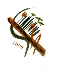 """Halbe Geige, geliebter Zigeuner"" / WVZ 2.336 / datiert 20.10.1999 / Aquarell auf Papier / Maße b 21,0 cm * h 29,7 cm"