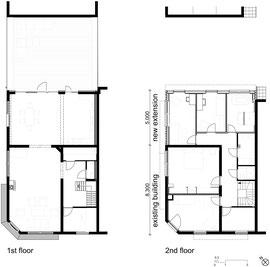 Plattegronden 1e en 2e verdieping