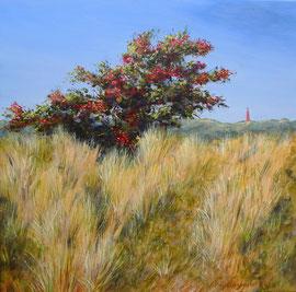 º Meidoornstruik 1, herfst, acryl, doek, 60x60cm