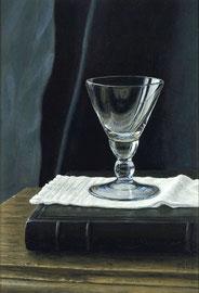 º Blauw glaasje, o/a/p, 12x18 cm, 2005