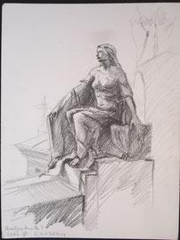 Parijs, Cimetiëre Montmartre, potlood, 2006