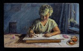 Saskia bij de tekenles, a/p, 9,8x5,8cm