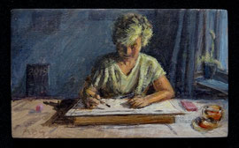 º Saskia bij de tekenles, a/p, 9,8x5,8cm