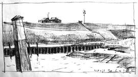 º Noordpolderzijl, krijt, ca. 29x40cm