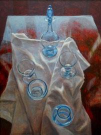 Blauw glaswerk op witte doek, o/a/p, 61x81,5cm