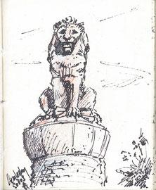 Standbeeld leeuw, Lemelerberg, stift, iets kleur, 7x10cm