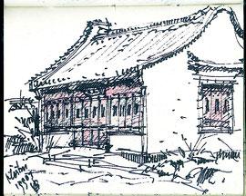 Chinese tuin, Hortus Haren, stift, 10x8cm