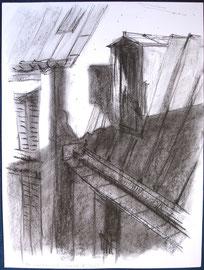 Parijs, zinken daken, krijt, A3, 2006