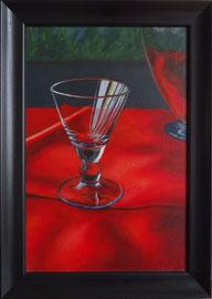 Blauw glaasje op rood, o/p, in lijst, 30x45cm