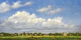 º Zicht op het dorp, met witte wolken, a/p, 30x15cm