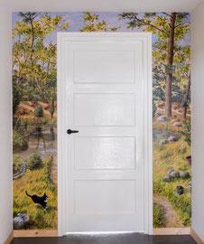 Wandschildering 'Bosven', in woning bij Roden, a/p, ca. 180x220cm incl. deur.