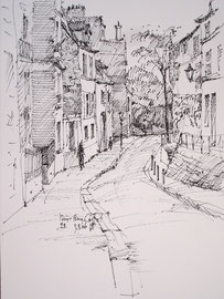 Parijs, Rue Cortot, Montmartre, stift, ca. A5